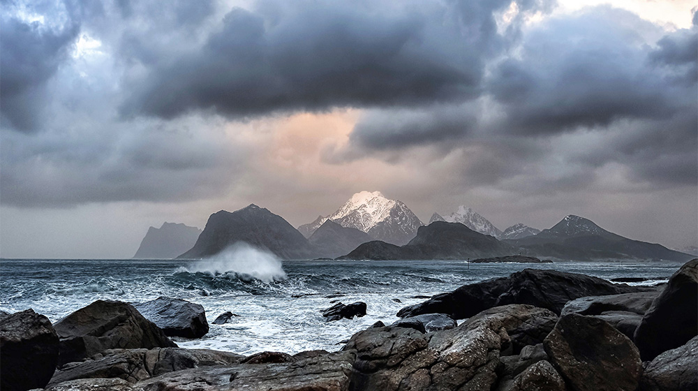 Ocean and mountains in Norway